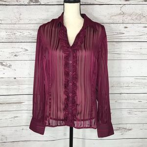 George by Mark Eisen Top Ruffle Button Front Sheer
